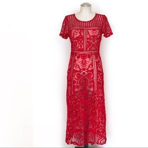 Full Lace Red Boho Maxi Dress Size M